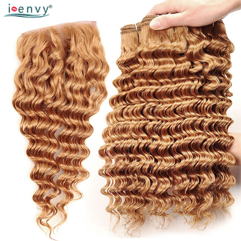 I Envy #27 Peruvian Hair Bundles With Closure Deep Wave Human Hair Honey Blonde Bundles With Closure Golden Hair Weave Non Remy