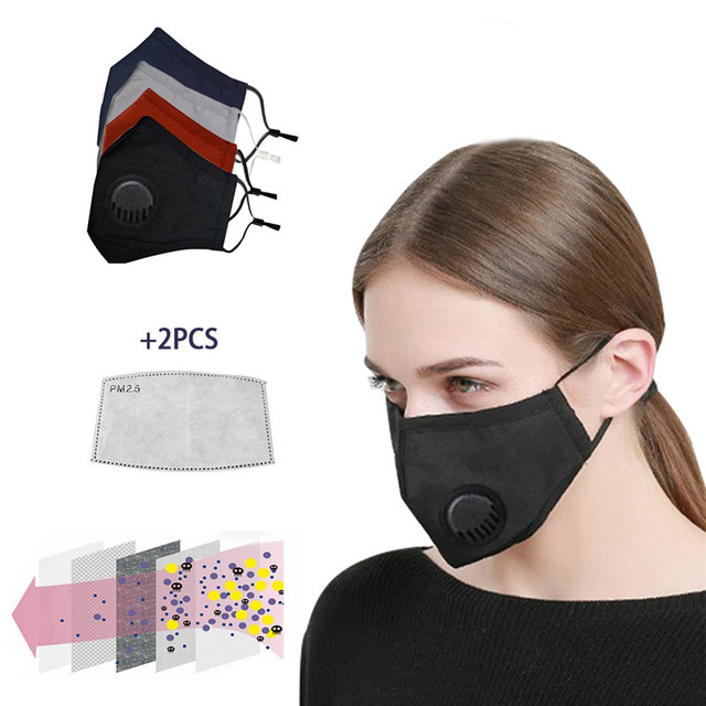 Anti Pollution PM2.5 Washable Black mouth Mask anti dust mask Activated carbon filter Windproof Mouth- bacteria Flu Face masks
