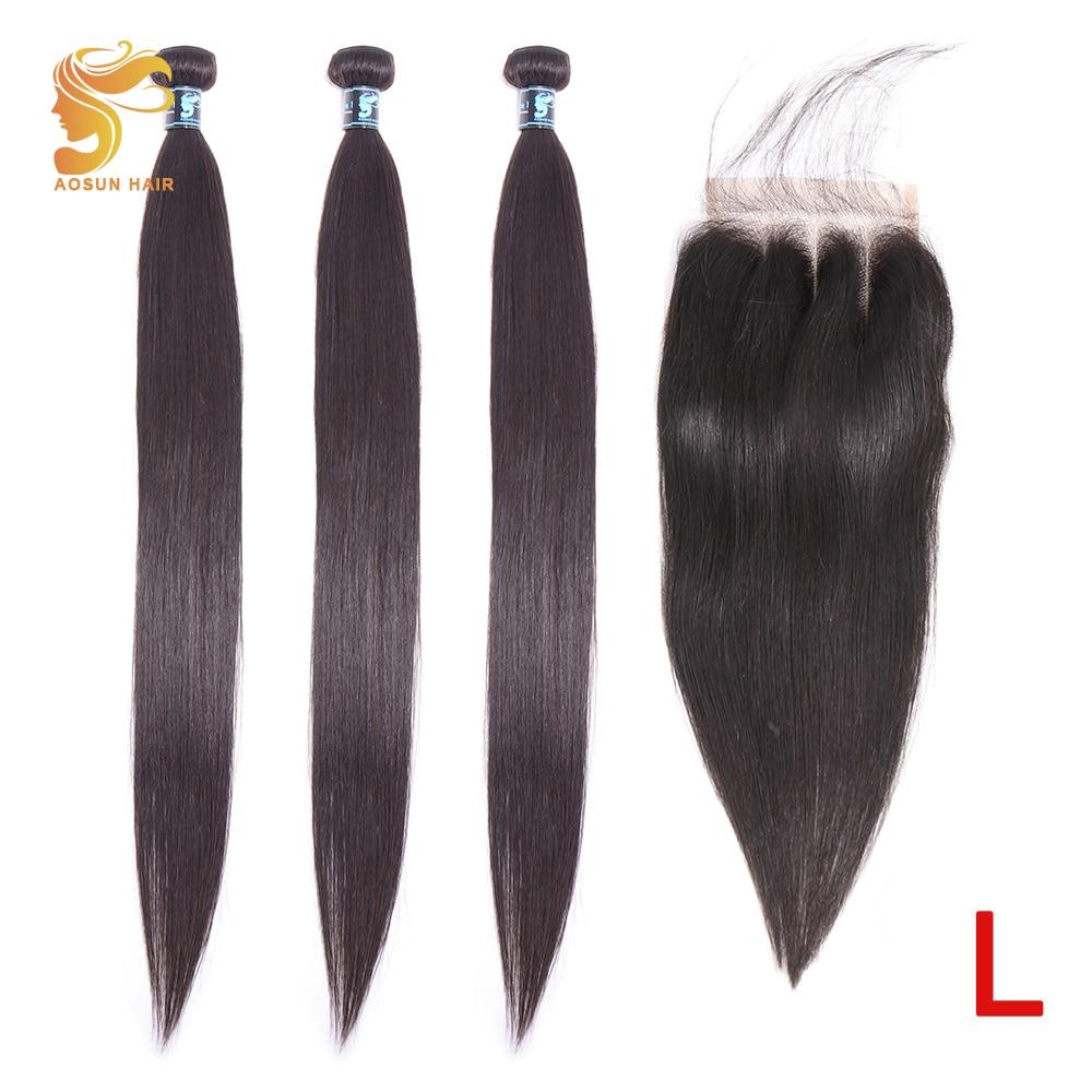 AOSUN HAIR Brazilian Hair Weave Bundles With Closure 8-30inch Straight Bundles With Closure Remy Human Hair Bundles With Closure