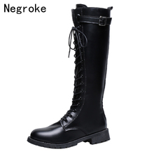 Women's Black Leather Boots  Lace Up Chunky Low Heels Knee High Boots New Platform Boots Plus Size Botas Mujer