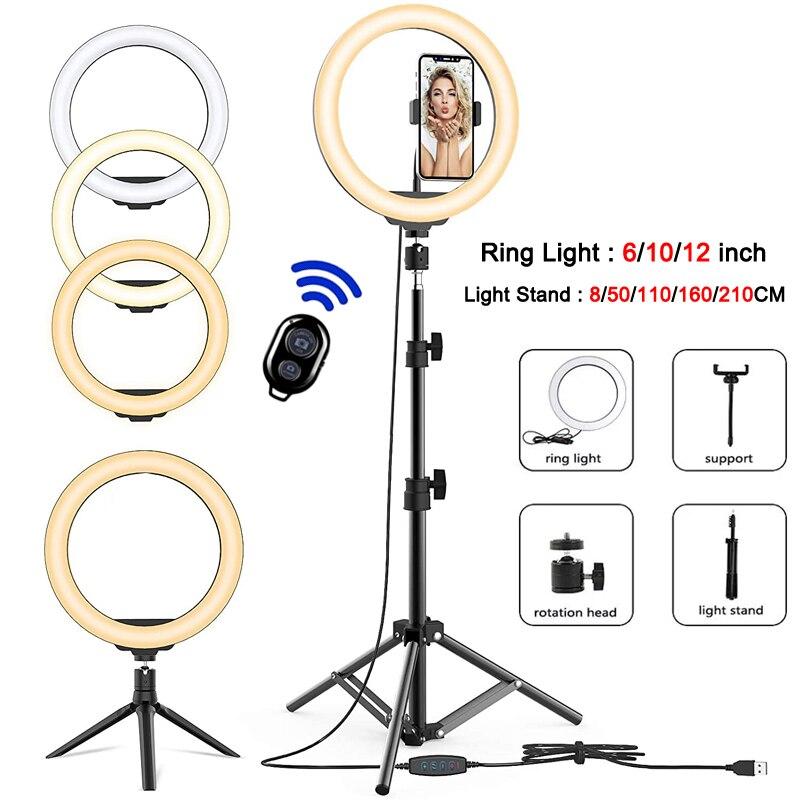 Luz do anel do diodo emissor de luz com 0.8/1.1/1.6/2.0m luz anel suporte regulável selfie anel lâmpada com telefone clipe para tiktok youtube maquiagem ao vivo