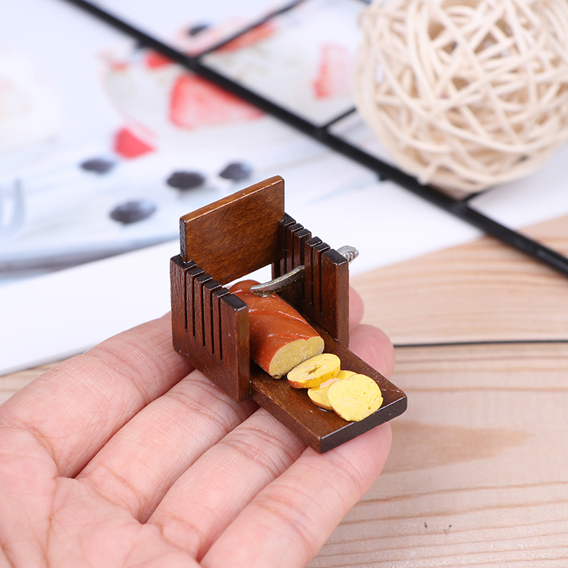 1:12 Doll House Miniature Slicer Kitchen Food House Accessories Mini Model Cute Bread Slicer Breakfast Carft Chidren Gifts