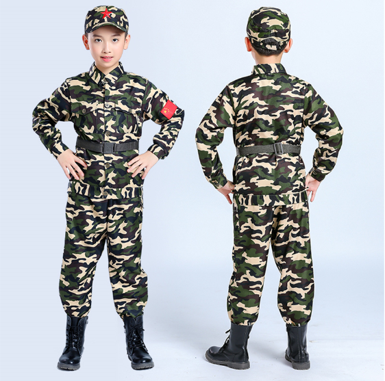 Kids Halloween Camouflage Uniform Carnival Children's Day Cosplay Military Costume Teenager Summer Camp Party Clothing