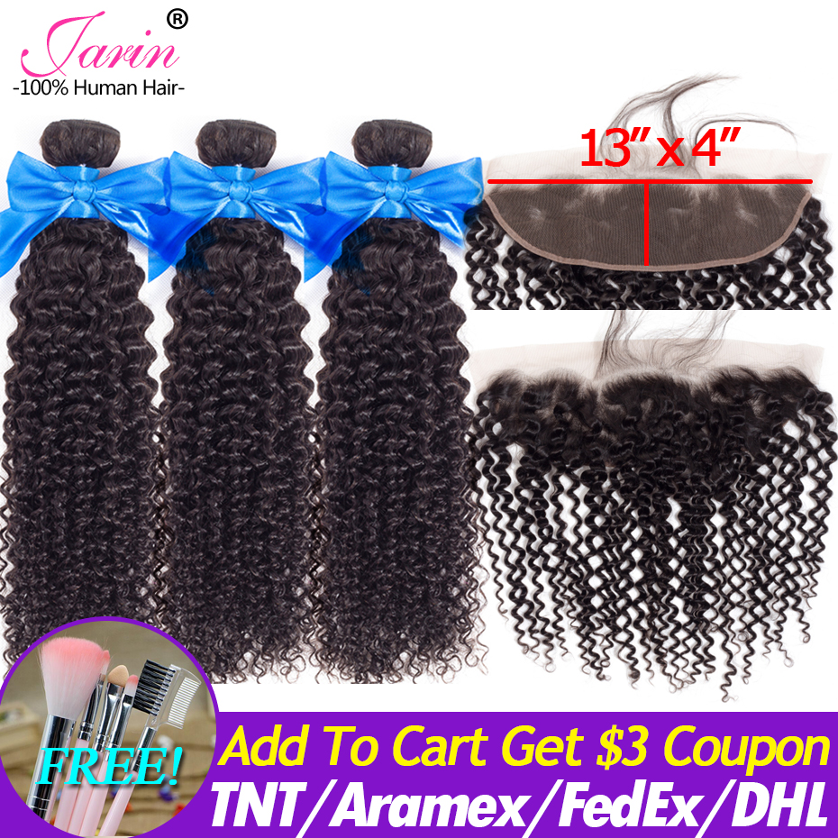 Jarin Mongolian Kinky Curly Hair Bundles With Frontal 13x4 Pre Plucked Frontal Remy 100% Human Hair 3 Bundles With Lace Closure