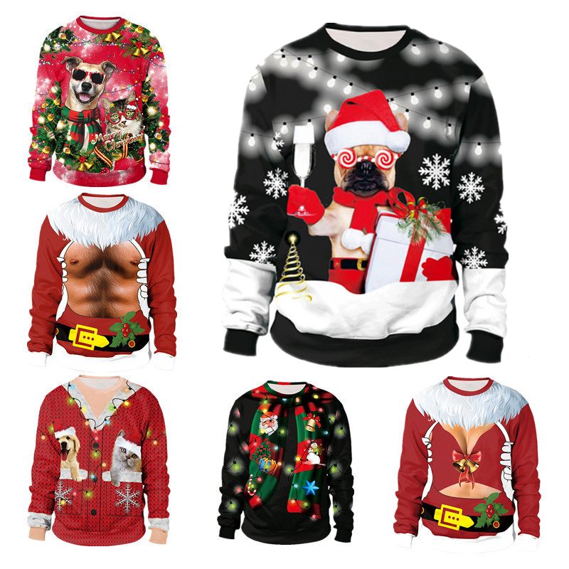 Unisex 2019 Ugly Christmas Sweater For Holidays Santa Elf Christmas Funny Fake Hair Sweater Autumn Winter Blouses Clothing