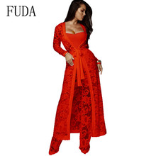 FUDA Newest Women Lace 3 Pieces Sets Wide Leg Jumpsuits and Long Thin Coat Elelgant Constract Modern Lady Playsuits