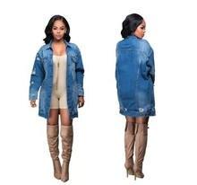 Женская джинсовая куртка с дырками свободная бойфренда из денима