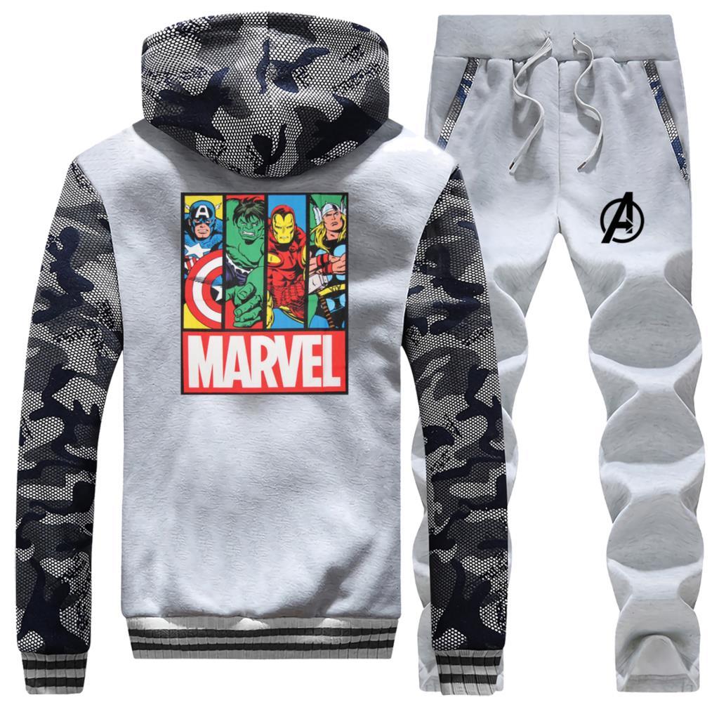 Marvel The Avengers Streetwear 2019 Winter Fashion Hoodies Men Camouflage Coat Thick Suit Sportswear Jackets+Pants 2 Piece Set