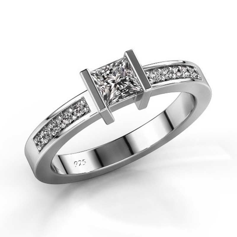 Female Simple Square Rhinestone Rings Women Exquisite Crystal Wedding Engagement Fashion Ring