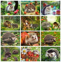 HUACAN Full Square Paint With Diamonds Hedgehog Mosaic Embroidery Cross Stitch Animal Decor For Home Craft Kit