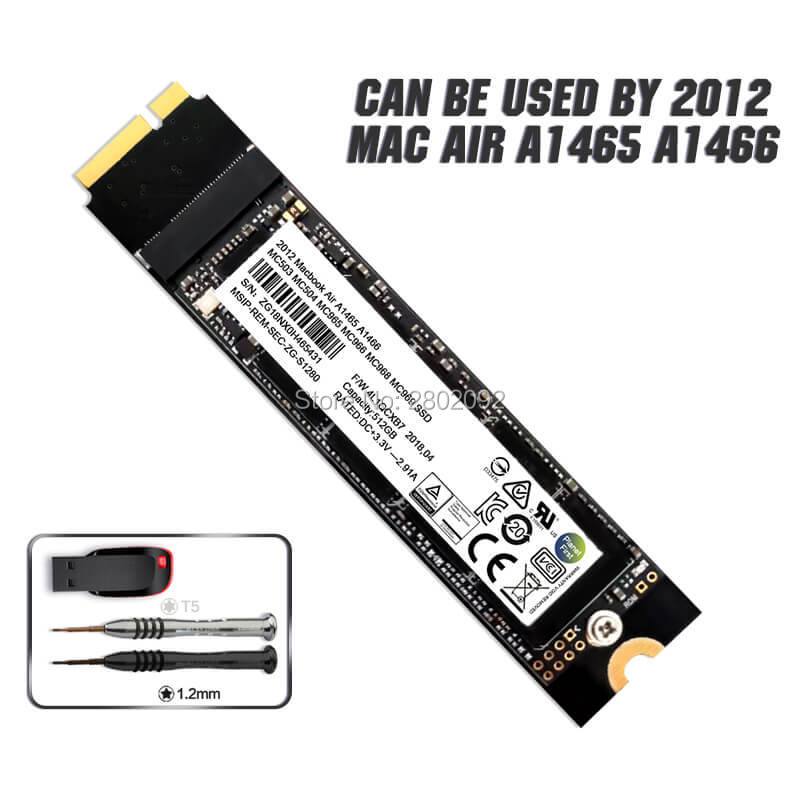 NEW 64GB 128GB 256GB Macbook Air A1465 A1466 SSD For 2012year 512GB 1T 2T SOLID STATE DISK Md231 Md232 Md223 Md224 Hard Disk SSD