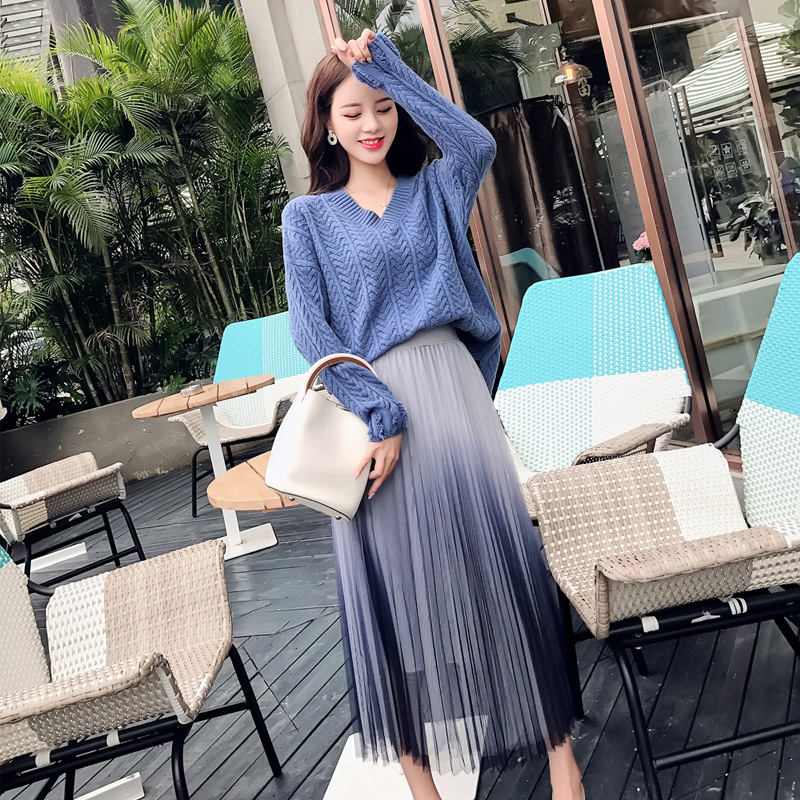 Photo Shoot 2019 Autumn And Winter Sweater Set Thick Sweater Sweater + Gradient Gauze Skirt Two-Piece Set Women's