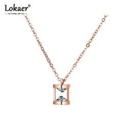 Lokaer kształt lejka naszyjnik AAA CZ biżuteria ze stali nierdzewnej różowe złoto kolor łańcuch walentynki prezent N18266