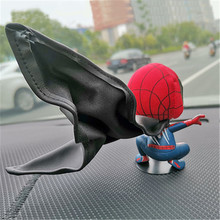 Car Shaking Head Doll Decoration Interior Decoration Black And White Warsuit Shaking Head Spider-Man Car Decoration Accessories head shaking cute cat style toy for car decoration white
