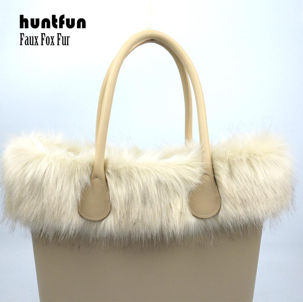 Huntfun New Women Bag Faux Fox Fur Beige Plush Trim For O BAG Thermal Plush Decoration Fit For Classic Big Mini Obag