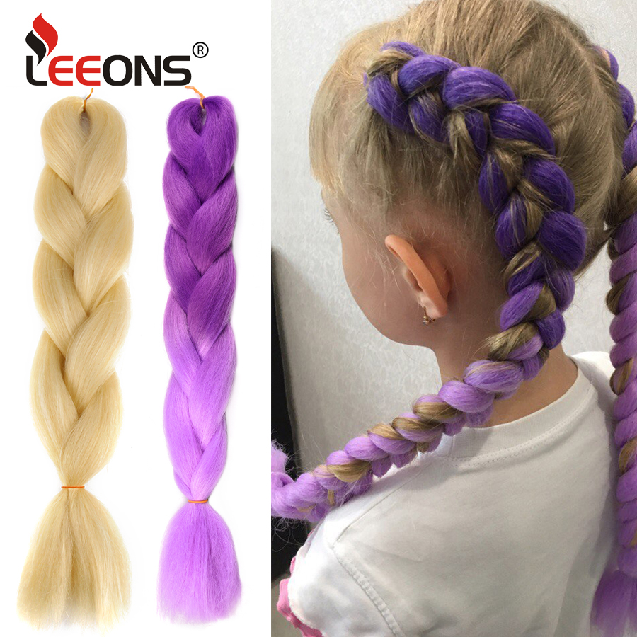 Leeons 105 Colored Jumbo Hair Extensions Ombre Crochet Braids 24Inch Blue Pink Grey African American Synthetic Hair Extensions