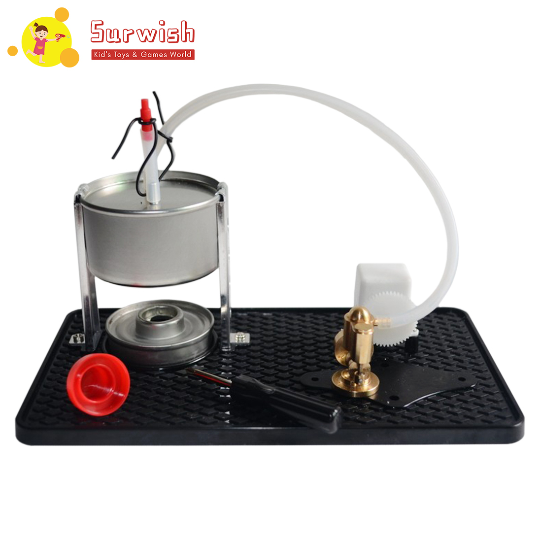 Enkele Cilinder Stoommachine Kit Model Speelgoed Creatief Cadeau Voor Kinderen Met Ketel Alcohol Lamp En Base
