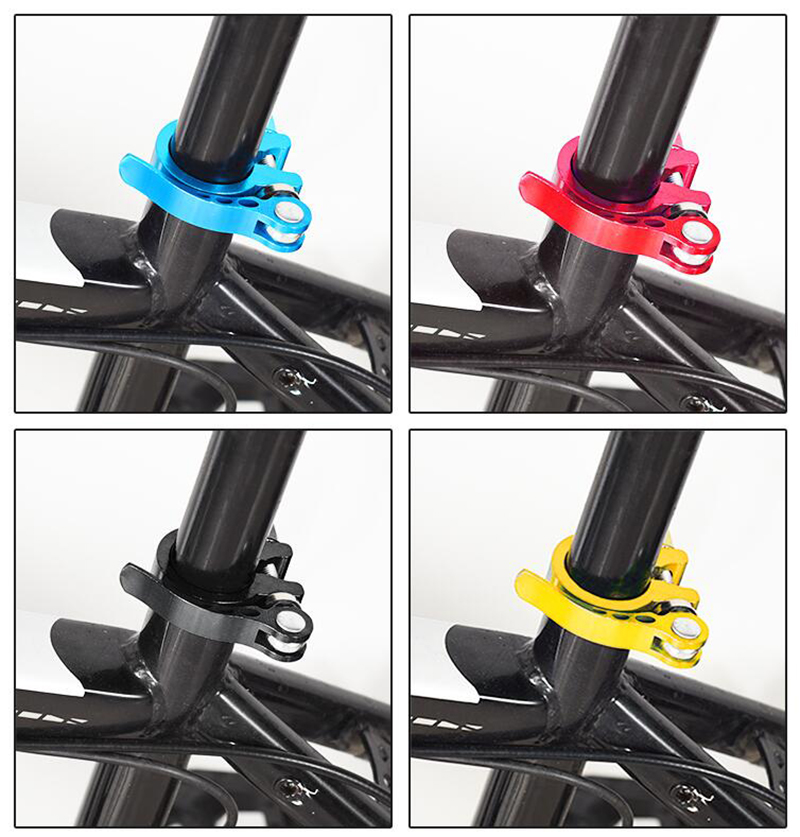 Купить с кэшбэком Bike Seat Tube Clamp 28.6/31.8/mm 34.9 Mountain Bike Bicycle Seat Tube Clamp Quick Release Buckle Aluminum Alloy Seat Tube Clamp