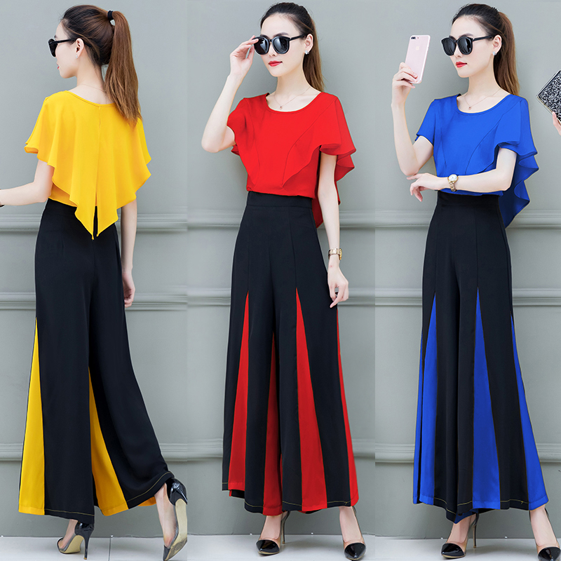 Popular Women 2 Piece Set 2020 Summer New Fashion Flared Pants Two Piece Set Temperament Casual Clothes Yellow Blue Red