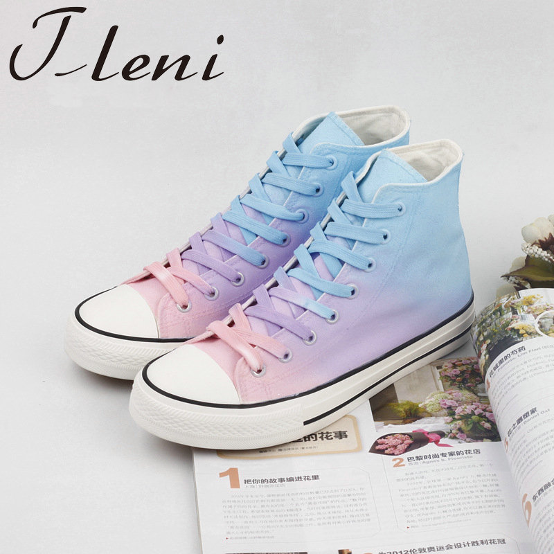 Tleni 2019 New Canvas Shoes Female Casual High Help Hand-painted Shoes Personality Student Female Sports Shoes ZD-222