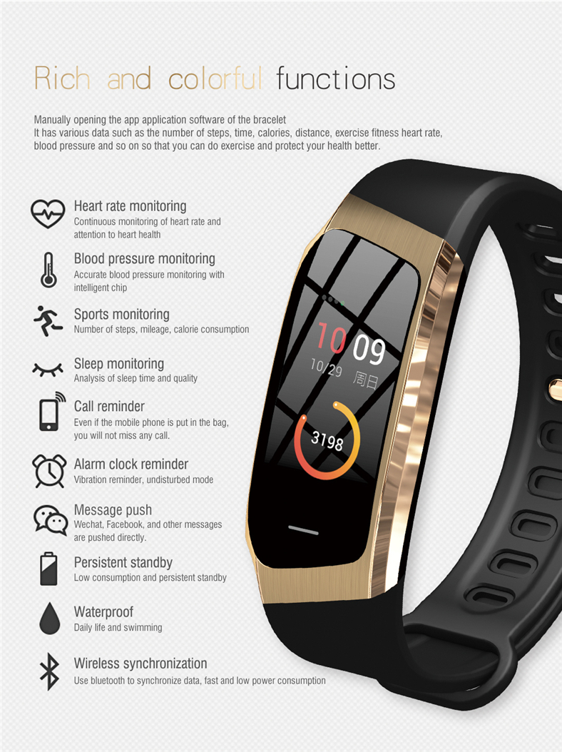 Hb7df32d79d84479f86327fd96b0d8b0cq E18 Smart Bracelet Blood Pressure Heart Rate Monitor Fitness Activity Tracker smart watch Waterproof Men Women Sport wrist band