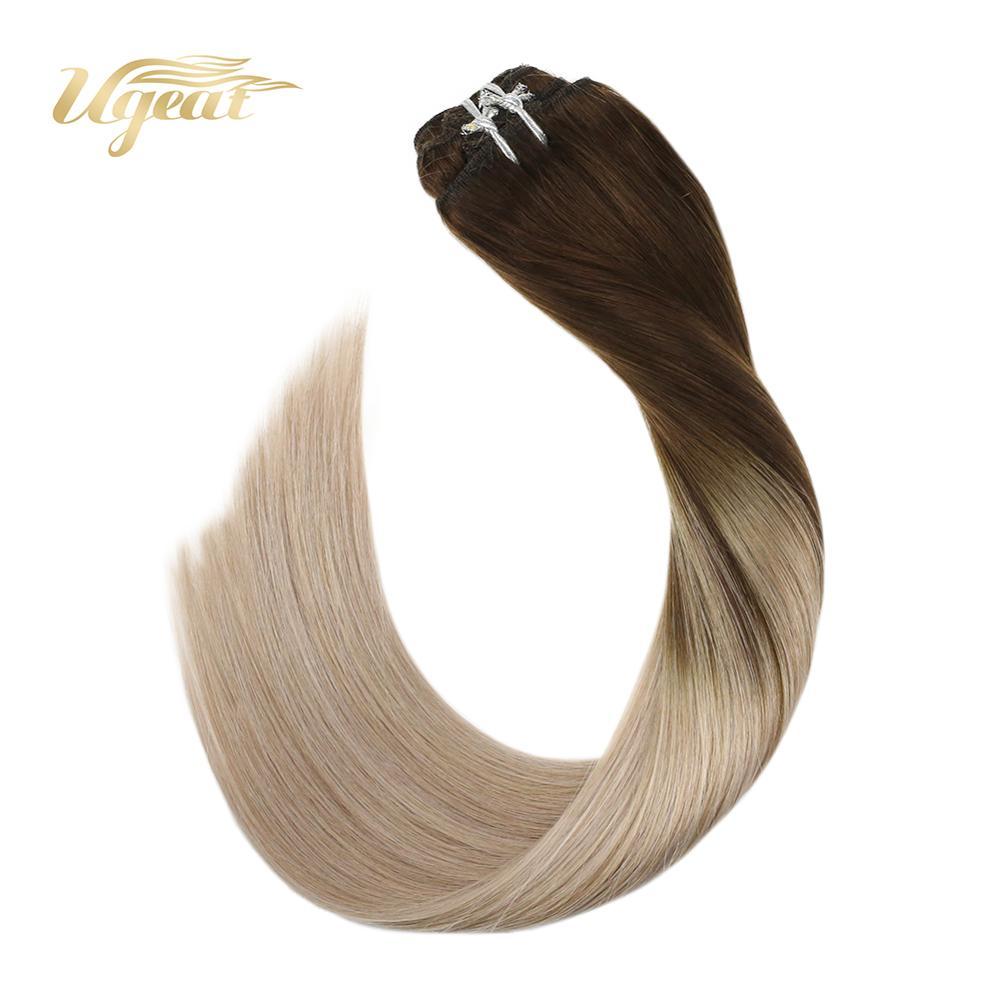 Ugeat Clip In Hair Extensions Full Head Human Hair Blonde Hair Machine Made Remy Brazilian Straight Hair Natural Soft Hair 7Pcs