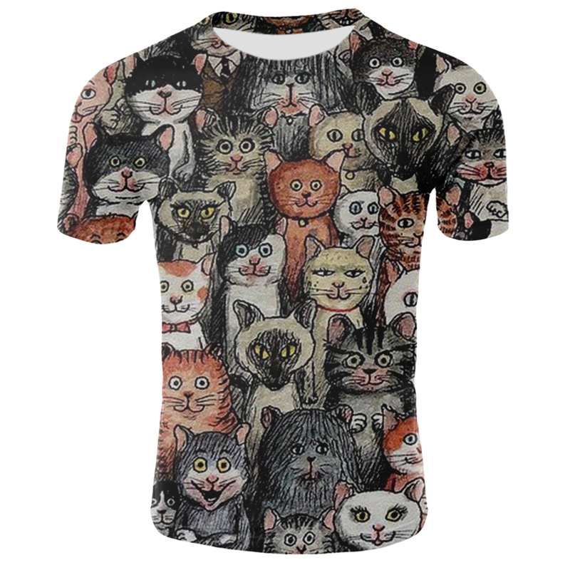 3d Cat T Shirt Men Women Cool Summer Short Sleeve T-shirts Hip Hop Casual Tops Tees Male Streetwear Funny Cat T Shirts