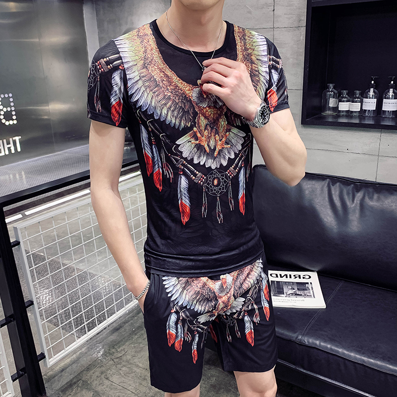 Fashion 2020 New Personality Eagle Print Casual +Shorts Two-piece Sportswear Set Men's T-shirt