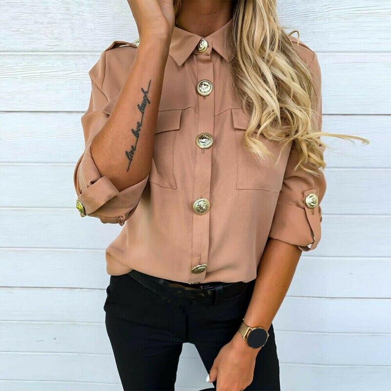 Femmes longues demi manches chemises en vrac chemise OL vêtements plaine décontracté bouton Blouse bureau dame été en mousseline de soie chemises blusa feminina