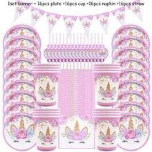 Vaisselle jetable licorne rose, 65 pièces, assiettes, gobelets et serviettes en papier, fournitures pour fête prénatale et premier anniversaire