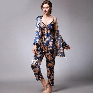 Image 1 - QWEEK seksi uyku salonu 3 adet v yaka kadın pijama seti zarif baskı uzun kollu pijama kadın pijama kadın kıyafeti