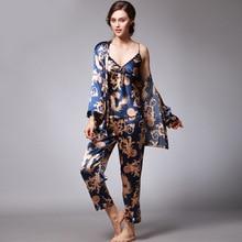 Qweek Sexy Slaap Lounge 3 Pieces V hals Vrouwen Pyjama Set Elegante Afdrukken Lange Mouw Pyjama Vrouwen Nachtkleding Vrouwen Nachtkleding