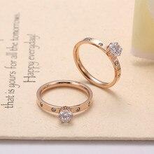 Новинка, титан, сталь, цирконий, кольца для женщин, ювелирные изделия, серебряное кольцо на палец, мужские обручальные кольца для женщин, розовые женские подарки