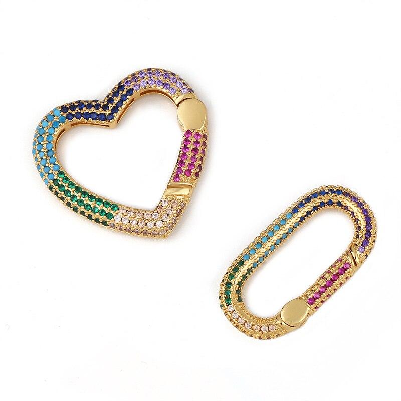 Ocerio arco-íris diy pingente oval mosquetão coração parafuso fechos decoração para correntes de malha gótico jóias fazendo suprimentos cspa005