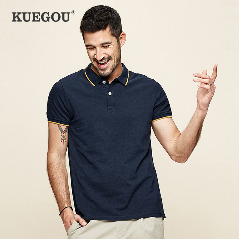 KUEGOU 2020 Summer 100% Cotton Patchwork Polo Shirt Men Fashion Short Sleeve Slim Fit Poloshirt Male Brand Tops Plus Size 393