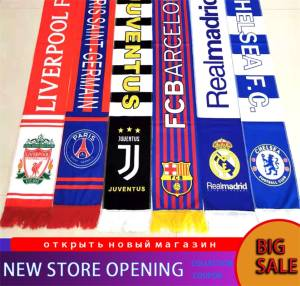 Football team Champions League Men& Women Winter Scarf Check Tassel Scarf Lady Shawl Unisex Knitted Winter Warm Scarf