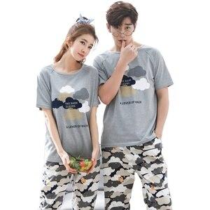 Image 1 - Pijama de verão masculino, manga curta 100% algodão, casual, impressão de casal, conjunto, roupa de dormir, plus size 3xl