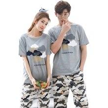 Summer Men Pyjamas Short Sleeve 100% Cotton Casual Couple Print Pajama