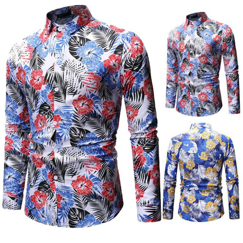 Luxury Men/'s Print Casual Dress Shirt Slim Fit Long Sleeve Formal T-Shirt Tops