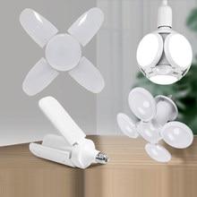Mini Vouwen Led Lamp E27 B22 Led Lamp Plafond Ventilator Lampada Led Licht 220V Opvouwbare Fan Blade Hoek Verstelbare gloeilamp