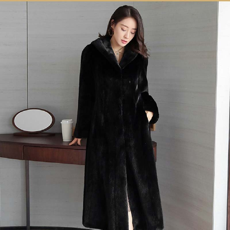 High Quality Winter Warm Women Fur Coat 2020 Imitation Mink Fur Coat Female New Long Hooded Suede Fur Faux Fur Coat NUW645