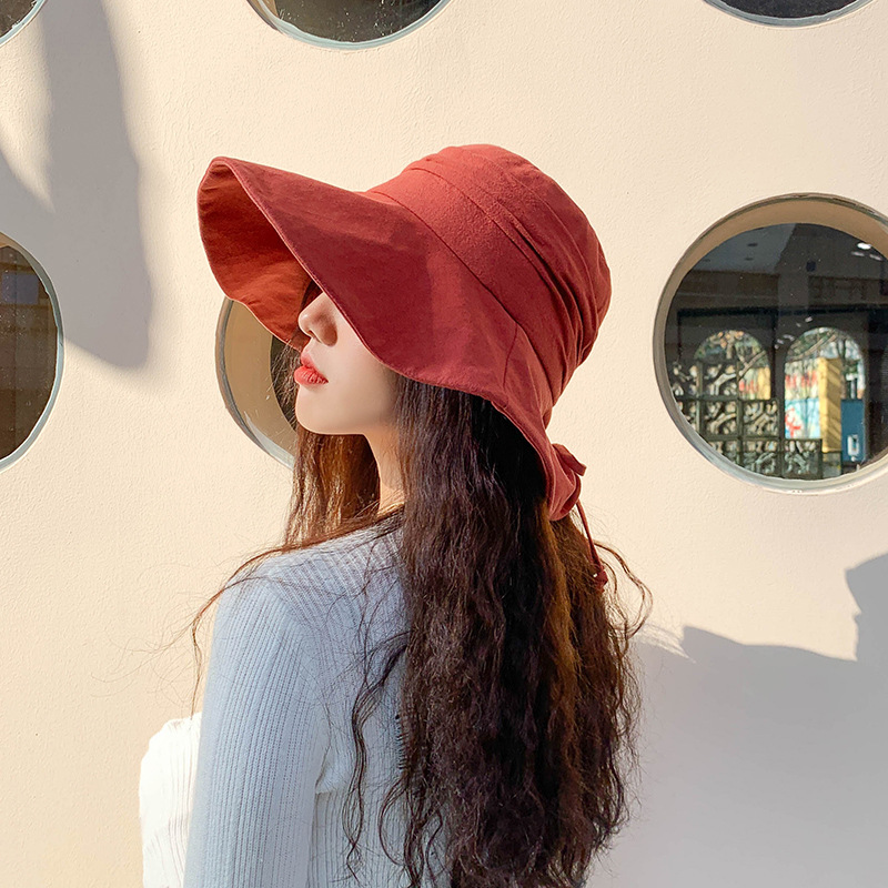 Fashion Cotton Wide-brimmed Bucket Hats Women Foldable Outdoor Hat  Fisherman Summer Beach UV Protection Hat Sunhats Tide