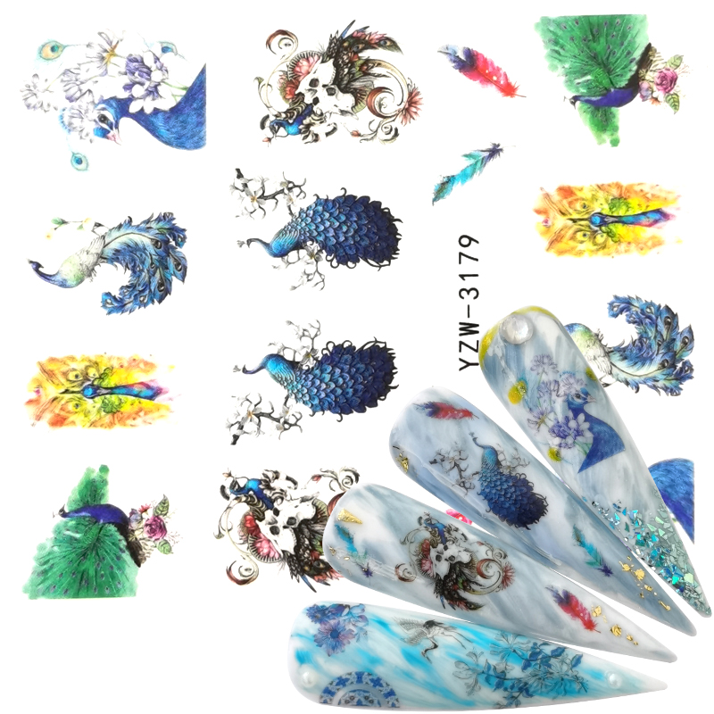 YZWLE 2020 New Arrival 1 PC Nail Art Peacock Animal Flower Water Design Tattoos Nail Sticker Decals For Beauty Manicure Tools