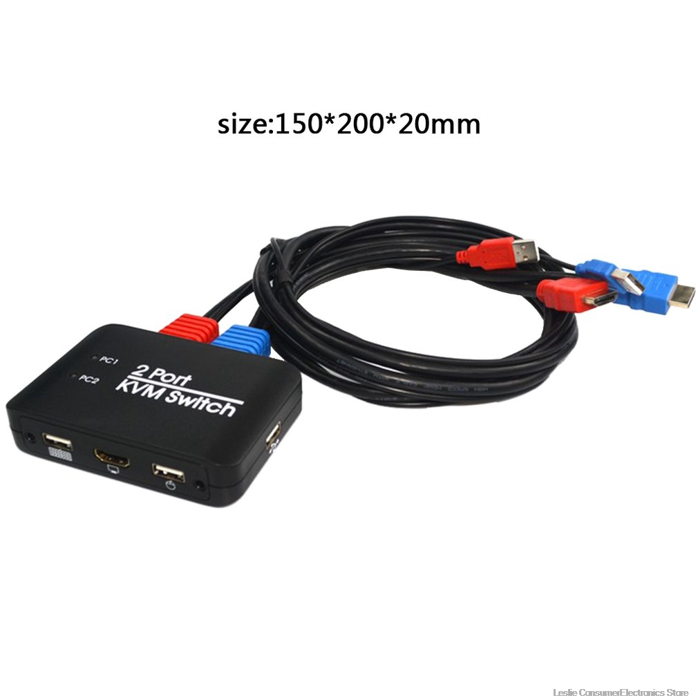 2 Port KVM Switch hdmi 2 0 With Cable For Dual Monitor Keyboard Mouse Hdmi Switch Support Usb U Disk Read in HDMI Cables from Consumer Electronics
