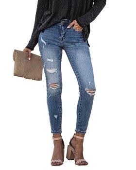 цена на 2020 Spring Fashion Ripped skinny distressed jeans Women High waist Denim elastic Skinny Pencil Pants Vintage trousers jeans