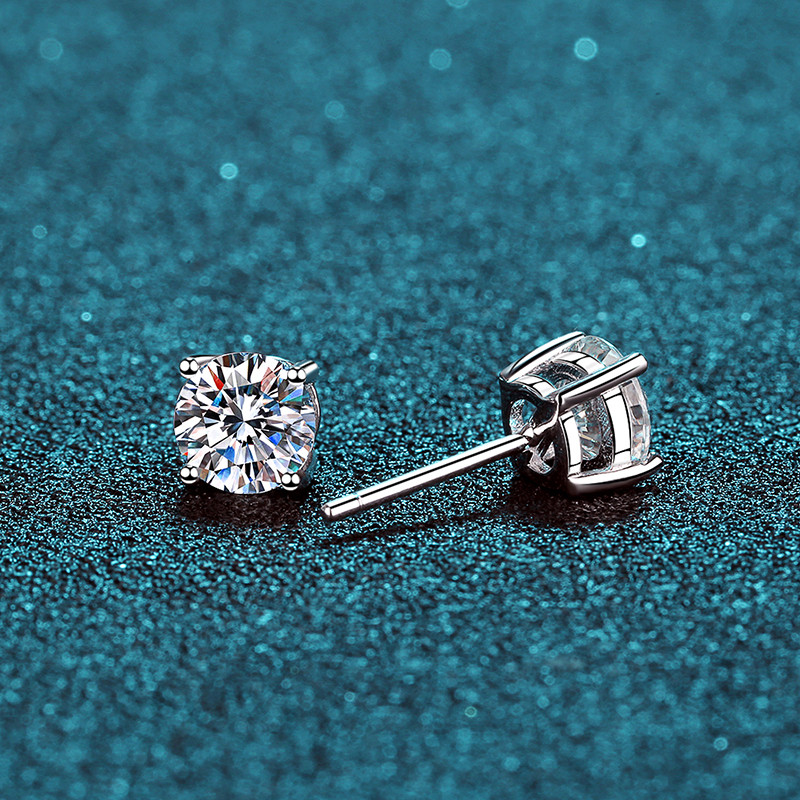BOEYCJR Fine-Jewelry Stud-Earring Moissanite Diamond Silver Women VVS Classic with Certificate