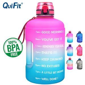 QuiFit 128oz 73oz 43oz Sport Big Gallon Water Bottle With Filter Net Fruit Infuse BPA Free My Drink Bottles Jug Gourd Gym Hiking