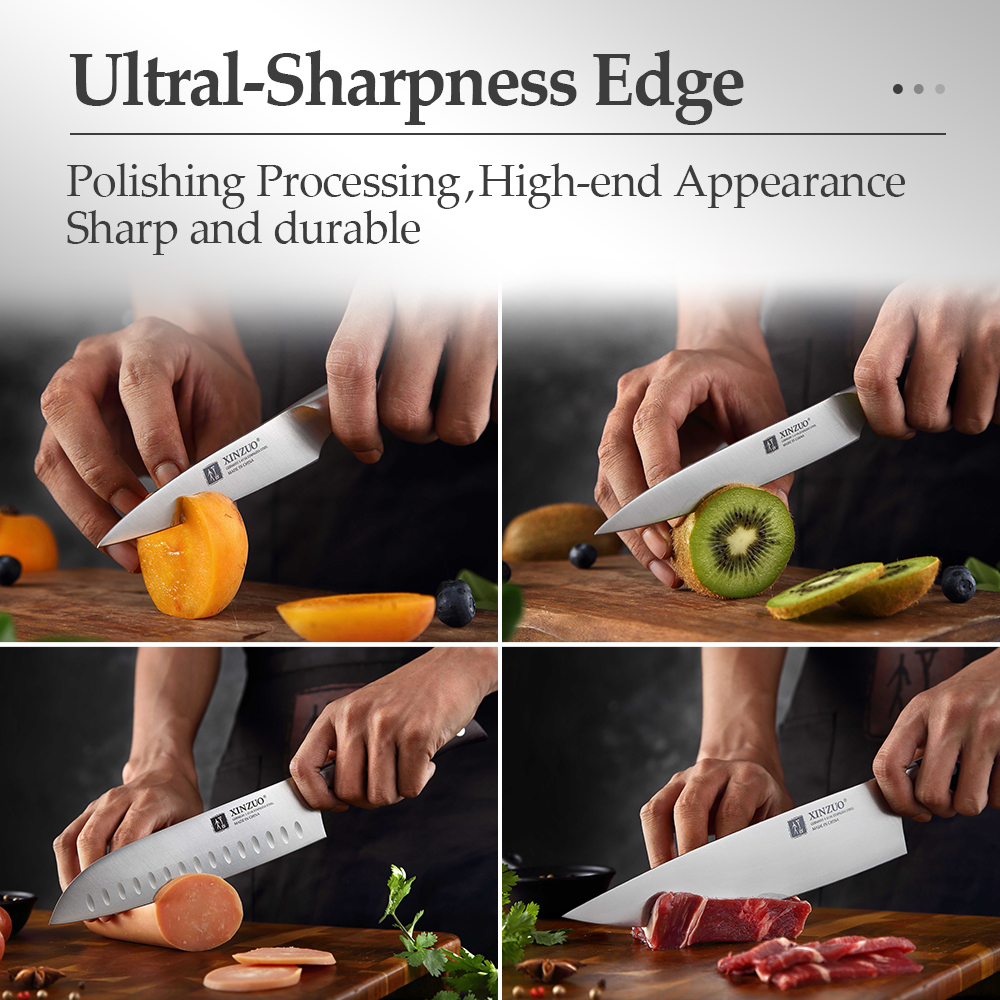 XINZUO Kitchen Tools 6 PCS Kitchen Knife Set of Utility Cleaver Chef Bread Knife High Carbon German Stainless Steel Knives sets 5