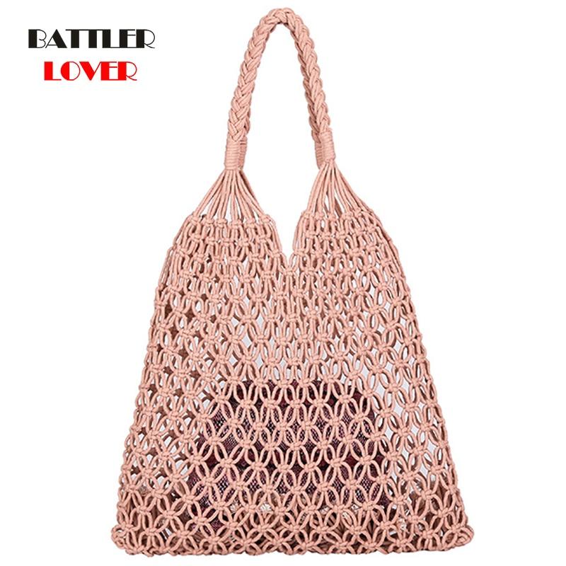 Popular Cotton Rope Hollow Out Cotton Bag Sheer Macrame Tote Bohemian Ultralight Shoulder Bag Net Bag Vintage Retro Chic handbag