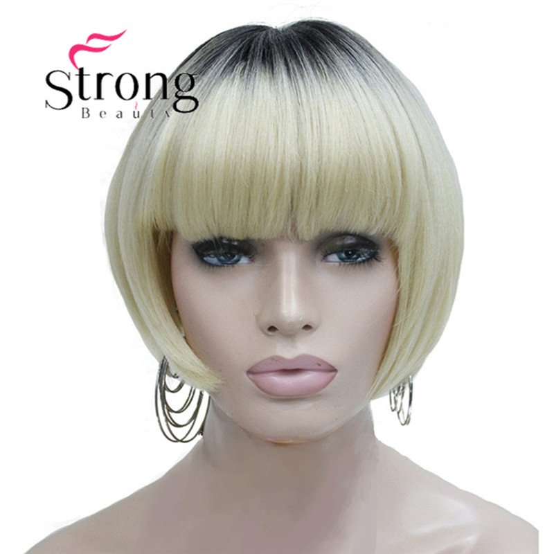 StrongBeauty Neat Bang Short Bob Style Wig Blonde Ombre And Dark Root Synthetic Natural Full Wigs